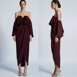 Shona Joy Luxe Bustier Frill Strapless Dress Garnet Red Wine US 4 NWT